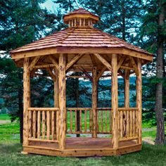Gazebo Kennels | Home / Amish Made Montana Collection Log Gazebo - Exterior Finish