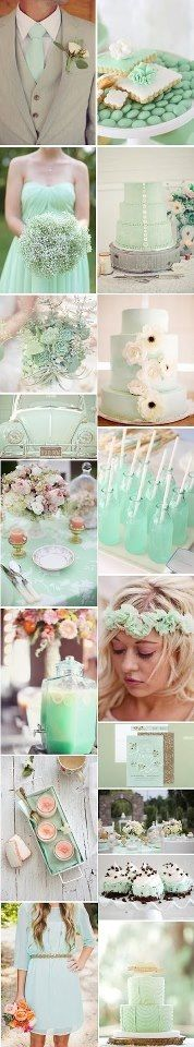 Mint white wedding