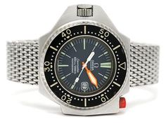 """OMEGA, Seamaster 600 (600m/2000ft), Professional, s.c. """"PloProf"""", Cal 1002, Serial no. , Ref no. ST 166.0077, Case no. 166.077, men´s wristwatch, 55 x 45 mm, steel, self winding, mineral crystal, date, damaged dial (7/10), original bracelet, folding clasp, Ref no. 1247/237, approx 1970."""