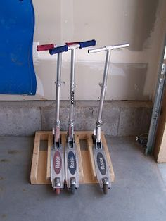 Scooter stand tutorial.  Looks mighty handy and I think we have the pieces in the garage right now.  Probably hidden by the pile of scooters . . . .
