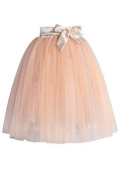Amore Tulle Midi Skirt in Blush