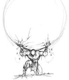Atlas Sketch   My Work Screams Originality Right Atlas Tattoo Sketch One Day
