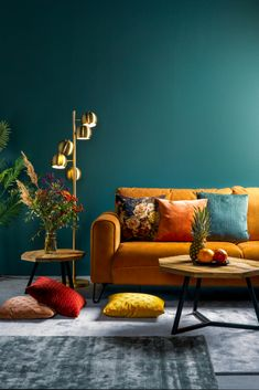Living Room Green, Home Living Room, Living Room Decor, Teal Living Rooms, Living Room Color Schemes, Living Room Designs, Room Colors, House Colors, Deco Design