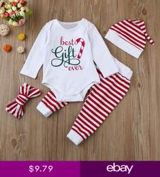 441d6c9503bf 4PCS Toddler Infant Baby Boy Girl Stripe Romper Tops+Pants Christmas  Outfits Set