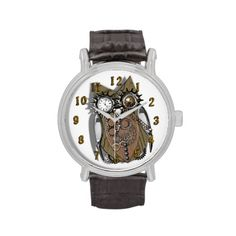 A fabulous steam punk style mechanical owl design a funny and unusual picture on a stylish watch.