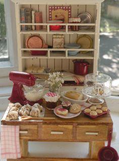 Miniature Cottage Kitchen Set - Island and Hutch