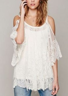 Love Love LOVE this Top! So Gorgeous! Sexy White Lace Cold Shoulder Off The Shoulder Lace Top #Sexy #Cold_Shoulder #Boho #Chic #White #Lace #Top #Bohemian #Style #Fashion