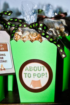 About to Pop Camp-themed Baby Shower Favors with s'mores popcorn