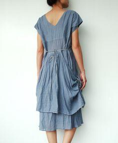 NO.30   Bluish Grey Cotton Gathered Middle V-Neck Tunic Dress. $42,00, via Etsy.