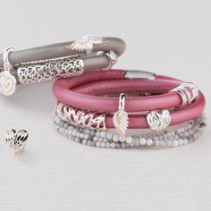 Wild Hearts napa leather charm bracelet - exclusive to Emma & Roe. Leather Charm Bracelets, Fashion Jewellery Online, Napa Leather, Wild Hearts, Charm Jewelry, Jewelery, Charms, Pandora, Figurine