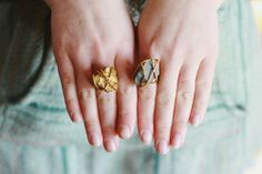 DIY Golden Stone Ring | Shelterness