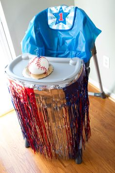 Love the decorated high chair! Twin First Birthday, Baby Boy Birthday, Birthday Bash, First Birthday Parties, First Birthdays, Birthday Ideas, Baseball Birthday Party, Party Themes For Boys, Baby Shower Fun