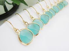 SET of 5 Wedding Jewelry Bridal Earrings Bridesmaid Earrings Mint Opal Sea Foam Glass Matte Gold Trimmed Earrings - Great for Bridesmaids. $89.10, via Etsy.    great but id want them is silver i think