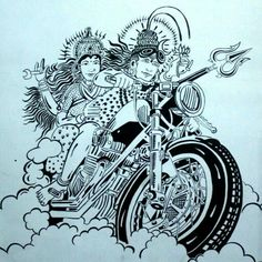 Hindu God Shiva with Goddess Parvati Driving Bike, Motorcycle or Bicycle Images for free download