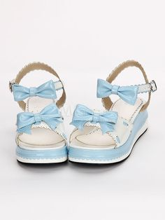 1434512cceb0 Sweet Lolita Shoes Open Toe Wedge Heel Bows PU Flat Blue Lolita Sandals   Open