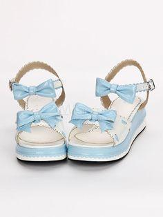 1434512cceb0 Sweet Lolita Shoes Open Toe Wedge Heel Bows PU Flat Blue Lolita Sandals   Open