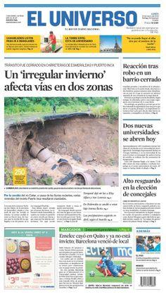 Portada de #DiarioELUNIVERSO del lunes 31 de marzo del 2014. Las #noticias de #Ecuador y el mundo en: www.eluniverso.com