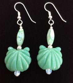Lampwork Glass Scallop Shell Earrings, Glass Clam Shell Earrings by ASplashOGlass on Etsy