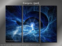 Framed Huge 3 Panel Energetic Spark Giclee by PictureSensations