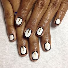 Simple & bold by Astrowifey  White, black outline and skinny gold triangle half moon