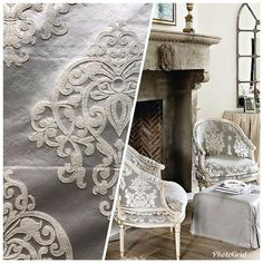 The most beautiful brocade satin fabric in a gray and ivory motif! Also for Fashion: Coats, Blazers, Dresses and Vests. Sold by the yard. The photo of the room is for inspirational purposes only and is not made from the fabric being sold. Brocade Fabric, Satin Fabric, Diy Furniture Upholstery, Victorian Sofa, Thing 1, Curtain Patterns, Custom Drapes, Interior Decorating, Interior Design