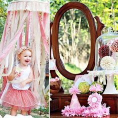 Vintage pink elephant birthday party -- ribbon hoops and ruffled party hats