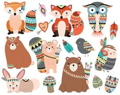 Woodland Tribal Animals Clipart - 300 DPI Vector, PNG & JPG Files - Cute Forest…