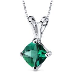 14k White Gold Cushion Cut Emerald Solitaire Pendant Necklace