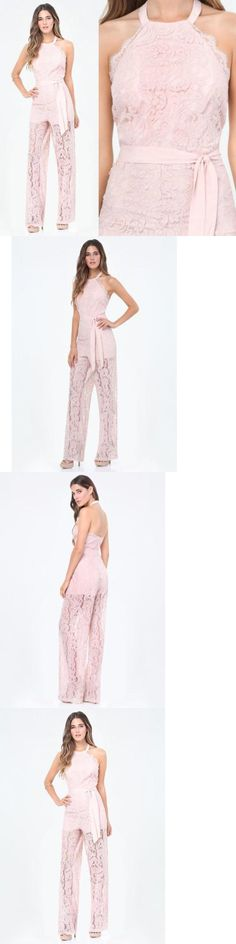 Jumpsuits And Rompers: Bebe Pink Halter Scallop Lace Romper Jumpsuit New Nwt $139 Small S 6 -> BUY IT NOW ONLY: $69.88 on eBay!