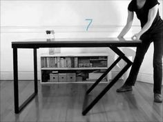 Ideas diy kids table and chairs space saving Folding Furniture, Space Saving Furniture, Deco Furniture, Metal Furniture, Furniture Making, Cool Furniture, Furniture Design, Transforming Furniture, Coffee Table To Dining Table