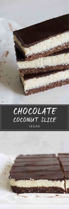 No-Bake Chocolate Coconut Slice -Chocolate brownie base, with fluffy coconut and a thin chocolate layer. #vegan #glutenfree #recipes