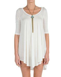 V Neck Quarter Sleeve Dress - Ivory | 2020AVE