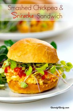 Smashed Chickpea and Sriracha Salad Sandwich is a 10-minute meal that's easy to make and delicious to eat