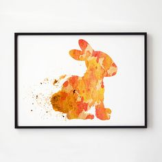 Rabbit art. Colorful watercolor. Wildlife decor.  Printed on high quality art paper.  SIZES:  8.3 x 11.7 (A4) 11.7 x 16.5 (A3)  This print