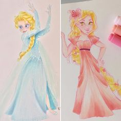 Rapunzel or Elsa? I tried something new with my Copic. Do you like it? It's really fast to draw like that but my I miss my Prisma.  #copic #elsa #rapunzel #tangled #art #disney #disneyart #pink #blue