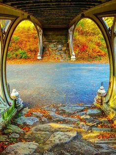 """Autumn Crunch"" by Charlie Cliques   Scenic autumn photograph in Central Park. Stop and crunch the leaves. Underneath a bridge in the Upper West Side of the famous New York City park. This image captures the beauty of the colorful leaves of the changing seasons. Unique perspective and vivid yellow, orange and red colors make this simple bridge a perfect piece for home decor.  #autumn   #centralpark   #newyork   #photography"