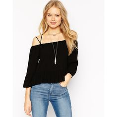 ASOS Off the Shoulder Casual Top (31 CAD) ❤ liked on Polyvore featuring tops, black, asos tops, asos, off shoulder tops and off the shoulder tops