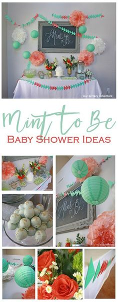 Mint To Be Baby Shower Ideas Minze, Dusche Ideen - Minze und Koralle Ideen - Source by . Coral Baby Showers, Peach Baby Shower, Baby Shower Fun, Shower Party, Baby Shower Parties, Baby Shower Gifts, Bridal Shower, Shower Games, Adoption Baby Shower