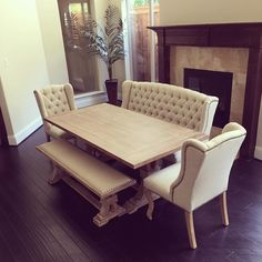 How Would You Help Decorate Her New Archer Dining Room Set Shop The Look And See Our Suggestions By Clicking Link In Bio Long Bench Tufted