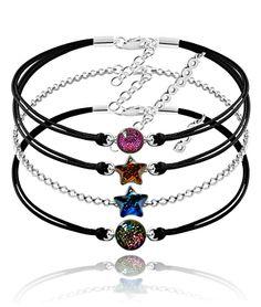 biżuteria srebro czarne sznurki szkło sznurkowe bransoletki - kolekcja lśnienie