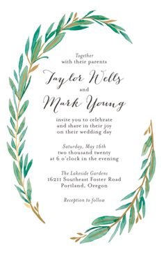 Tall Olive Branch Wedding Invitation | Paper Source
