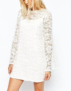 Image 3 of Abercrombie & Fitch Lace Dress With Bell Sleeve