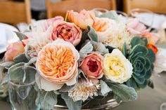 garden roses, dahlias, dusty, & succulents #centerpiece  floral by m.design @meredithlaw / photo by @ElleJaePhoto