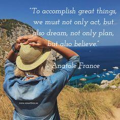 """Ett bra citat som funkar lika bra privat och i företagets sociala medier strategi. Om du har en plan men ingen action, händer ingenting. Om du har action men ingen plan, då kan du hamna var som helst. Om du har plan och action med inte tror på att du kommer lyckas - vad händer då?  """"To accomplish great things, we must not only act, but also dream, not only plan, but also believe.""""  #quote #socialamedier #smartbizz #strategi #plan #mål"""