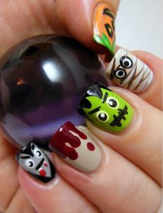 Halloween Nail Art Design Inspirations - Halloween makeup and costume feels less complete without cool nail art! Cute Halloween Nails, Halloween Nail Designs, Halloween Nail Art, Spooky Halloween, Halloween Halloween, Fall Nail Art Designs, Diy Nail Designs, Diy Nails, Cute Nails