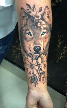 Dope Tattoos, Badass Tattoos, Forearm Tattoos, Body Art Tattoos, Hand Tattoos, Tattoo Femeninos, Skull Girl Tattoo, Wolf Tattoo Sleeve, Wolf Tattoos For Women