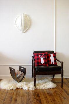 Deer and Bear silhouettes Decorative Pillow Set