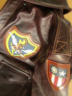 The Flying Tigers - 23rd Fighter Group - A2 Leather Jacket #MYBKJACKET BILL KELSO MFG: Manufacturers of Classic Premium Quality Period Accurate Flying Jackets. Visit the website for more information and product catalog. http://www.billkelsomfg.com/