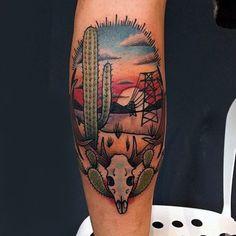 The 36 Coolest Cactus Tattoos To Ever Exist Kaktus Tattoo Design von Paulski Cowboy Tattoos, Texas Tattoos, New Tattoos, Tatoos, Wüsten Tattoo, Calf Tattoo, Desert Tattoo, Arizona Tattoo, Kaktus Tattoo