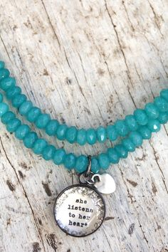 Teal Listens Leather Necklace - $50.00 : Beth Quinn Designs , Romantic Inspirational Jewelry